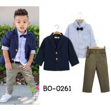 BO0261 ชุดสูทเด็กผู้ชาย เสื้อเชิ๊ตลายทางสีฟ้า + หูกระต่าย + เสื้อคลุม/เสื้อสูท สีกรมท่า + กางเกงสีเขียว (4ชิ้น)