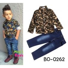 BO0262 ชุดเด็กผู้ชายเสื้อเชิ๊ตคอปกแขนยาว ลายทหารพลางโทนสีเขียว + กางเกงยีนส์ขายาว (2ชิ้น)
