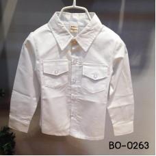 BO0263X << สินค้ามีตำหนิ >> เสื้อเชิ๊ตเด็กผู้ชายออกงาน คอปกแขนยาว แต่งกระเป๋าที่อก สีขาว S.120