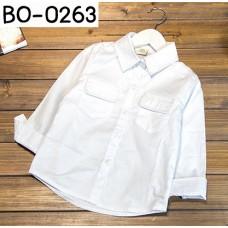 BO0263 เสื้อเชิ๊ตเด็กผู้ชายออกงาน คอปกแขนยาว แต่งกระเป๋าที่อก สีขาว S.110/120