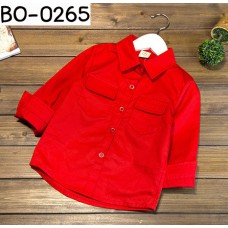 BO0265 เสื้อเชิ๊ตเด็กผู้ชายออกงาน คอปกแขนยาว แต่งกระเป๋าที่อก สีแดง