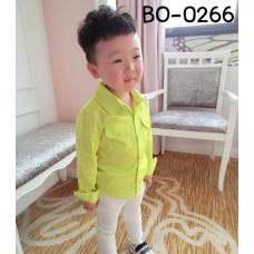BO0266 เสื้อเชิ๊ตเด็กผู้ชายออกงาน คอปกแขนยาว แต่งกระเป๋าที่อก สีเหลือง S.100