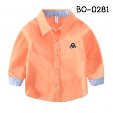 BO0281 เสื้อเชิ๊ตเด็กผู้ชายออกงาน คอปกแขนยาวขอบแขนสีฟ้า ปักลายรถเต่า สีส้ม