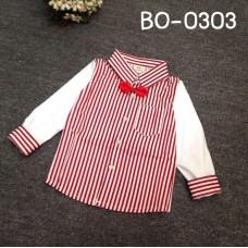 BO0303 เสื้อเชิ๊ตเด็กผู้ชายออกงาน คอปกแขนยาว ลายทางสีขาวสลับแดง พร้อมหูกระต่ายสีแดง (2ชิ้น) S.110