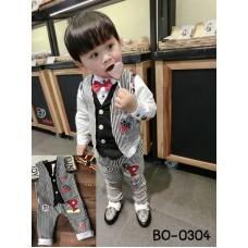 BO0304 ชุดเด็กผู้ชายออกงาน เสื้อกั๊ก และกางเกงขายาวลายทางสีขาวสลับดำ (2ชิ้น)