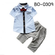 BO0309 ชุดเด็กผู้ชายออกงาน เสื้อเชิ๊ตแขนสั้นสีฟ้า หูกระต่ายแดง กางเกงขายาวสีเทา (3ชิ้น) S.80
