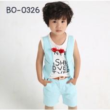 BO0326 ชุดเด็กผู้ชายออกงาน เสื้อกล้ามสีขาว ติดหูกระต่ายสีแดง + กางเกงลายทางสีฟ้า (3ชิ้น) ไม่รวมเข็มขัด