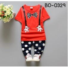 BO0329 ชุดเด็กผู้ชาย เสื้อคอกลมแขนสั้นสีแดง สกรีนหูกระต่ายและสายเอี๊ยม + กางเกงลายจุดสีกรมท่า (2ชิ้น) S.110