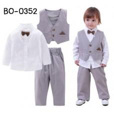BO0352 ชุดเด็กผู้ชายออกงาน เสื้อแขนยาวสีขาว + หูกระต่าย + เสื้อกั๊ก + กางเกงขายาวสีเทา (4ชิ้น)