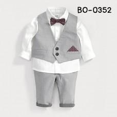 BO0352X << สินค้ามีตำหนิ >> ชุดเด็กผู้ชายออกงาน เสื้อแขนยาวสีขาว + หูกระต่าย + เสื้อกั๊ก + กางเกงขายาวสีเทา (4ชิ้น) S.90