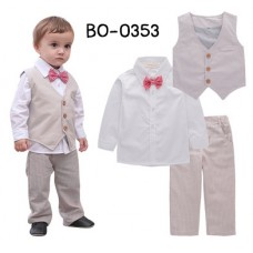 BO0353 ชุดเด็กผู้ชายออกงาน เสื้อแขนยาวสีขาวออฟไวท์ (Off-white) + เสื้อกั๊ก + หูกระต่าย + กางเกง (4ชิ้น)