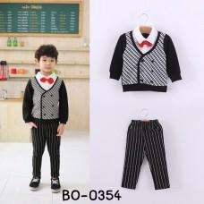 BO0354 ชุดเด็กผู้ชายออกงาน เสื้อคอปกแขนยาวหูกระต่ายสีแดง + กางเกงขายาวลายทางสีดำ (2ชิ้น)