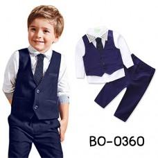 BO0360 ชุดสูทเด็กผู้ชายออกงาน สุดคุ้มครบเซ็ท โทนสีขาวกรมท่า (4ชิ้น)