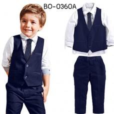 BO0360A ชุดออกงานเด็กผู้ชาย เสื้อเชิ๊ตปักลายสมอเรือ เนคไท เสื้อกั๊ก และกางเกงขายาว สีกรมท่า (4ชิ้น)