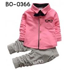 BO0366T ชุดเด็กผู้ชายออกงาน เสื้อเชิ๊ตแขนยาวสีชมพูอ่อน หูกระต่ายกรมท่า กางเกงขายาวสีเทา (3ชิ้น)
