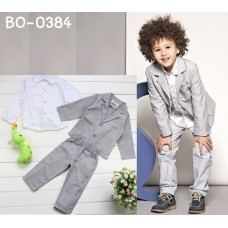 BO0384 ชุดสูทเด็กผู้ชายออกงาน เสื้อเชิ๊ตสีขาว สูทแขนยาว กางเกงขายาว สีเทา (3ชิ้น)