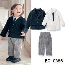 BO0385 ชุดเด็กผู้ชายออกงาน เสื้อเชิ๊ตแขนยาว + เนคไท + เสื้อคลุม/เสื้อสูทสีกรมท่า + กางเกง (4ชิ้น) S.100