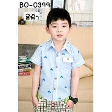 BO0399 เสื้อเชิ๊ตเด็กผู้ชายคอปกแขนสั้น สกรีนรูปคนปั่นจักรยาน สีฟ้า S.140