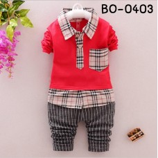 BO0403 ชุดเด็กผู้ชายออกงาน เสื้อเชิ๊ตแขนยาวสีแดงขอบลายสก๊อต กางเกงสีเทา (2ชิ้น)