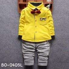 BO0405L ชุดเด็กผู้ชายออกงาน เสื้อเชิ๊ตแขนยาวสีเหลือง หูกระต่ายแดง กางเกงขายาวสีเทา (3ชิ้น)