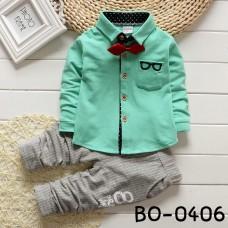 BO0406 ชุดเด็กผู้ชายออกงาน เสื้อเชิ๊ตแขนยาวสีเขียว หูกระต่ายแดง กางเกงขายาวสีเทา (3ชิ้น) S.120