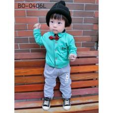 BO0406L ชุดเด็กผู้ชายออกงาน เสื้อเชิ๊ตแขนยาวสีเขียว หูกระต่ายแดง กางเกงขายาวสีเทา (3ชิ้น) S.80