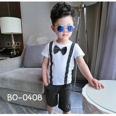 BO0408 ชุดเด็กผู้ชาย เสื้อคอกลมแขนสั้น ติดหูกระต่าย + กางเกง สีขาวดำ (2ชิ้น) S.110