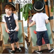 BO0410 ชุดเด็กผู้ชายออกงาน เสื้อคอกลมแขนสั้นสีขาว กั๊กเย็บติด + หูกระต่าย + กางเกงลายทางสีกรมท่าเข้ม (3ชิ้น)