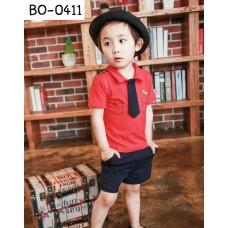 BO0411 ชุดนักบินเด็กผู้ชาย เสื้อสีแดง เนคไทด์และ กางเกงขาสั้น สีดำ (3ชิ้น) S.90