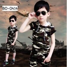 BO0414 ชุดเด็กโต เสื้อแขนสั้นพร้อมฮู้ด และกางเกง 3 ส่วน ลายทหาร (2ชิ้น) S.110
