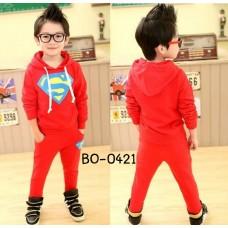 BO0421 ชุดวอร์มเด็กผู้ชาย ลายซุปเปอร์แมน Superman + กางเกงขายาวสีแดง (2ชิ้น)