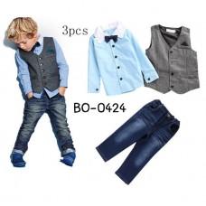 BO0424 ชุดเด็กผู้ชายออกงาน สุดเท่ห์ เชิ๊ตสีฟ้าอมเขียวติดหูกระต่าย + เสื้อกั๊ก + กางเกงยีนส์ (3ชิ้น)