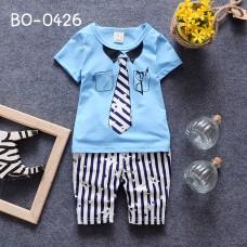 BO0426 ชุดเด็กผู้ชาย คอกลมแขนสั้นสกรีนเนคไทสีฟ้า + กางเกงลายทาง (2ชิ้น)