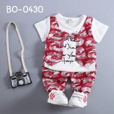 BO0430 ชุดเด็กผู้ชายออกงาน ติดหูกระต่าย + กางเกงโทนสีขาวแดง (2ชิ้น) S.110