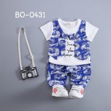 BO0431 ชุดเด็กผู้ชายออกงาน ติดหูกระต่าย + กางเกงโทนสีขาวน้ำเงิน (2ชิ้น)
