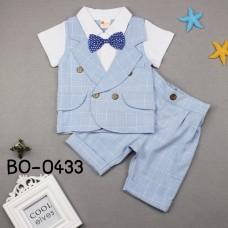 BO0433 ชุดเด็กผู้ชายออกงานแขนสั้น ติดหูกระต่ายสีน้ำเงินลายจุด + กางเกงขาสั้น สีฟ้า (2ชิ้น)