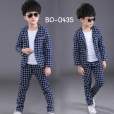 BO0435 ชุดสูทเด็กผู้ชายออกงาน เสื้อสูท + กางเกงขายาวลายตาราง สีกรมท่า (2ชิ้น)