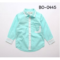 BO0445 เสื้อเชิ๊ตเด็กผู้ชายออกงาน คอปกแขนยาวสีฟ้าอมเขียว เล่นขอบสีขาว