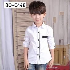 BO0448X  << สินค้ามีตำหนิ >> เสื้อเชิ๊ตเด็กผู้ชายออกงาน คอปกแขนยาวสีขาวขอบดำ S.140