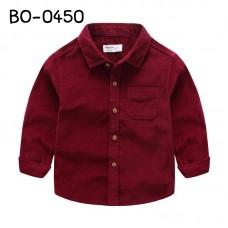 BO0450 เสื้อเชิ๊ตเด็กผู้ชายออกงาน คอปกแขนยาว สีไวน์แดง