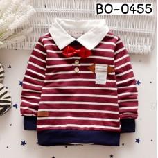 BO0455 เสื้อเด็กผู้ชาย คอปกแขนยาว ติดหูกระต่ายสีแดง ลายริ้วขาวแดง