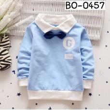 BO0457 เสื้อเด็กผู้ชาย คอปกแขนยาวสีฟ้าขอบขาว ติดหูกระต่ายสีน้ำเงิน