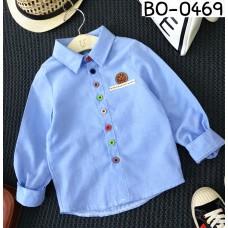 BO0469 เสื้อเชิ๊ตเด็กผู้ชายออกงาน คอปกแขนยาวสีฟ้า กระดุมหลากสี S.100