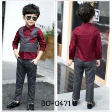 BO0471 ชุดเด็กผู้ชายออกงาน เสื้อเชิ๊ตสีเลือดหมูกั๊กเย็บติด  และกางเกงขายาวสีเทา (2ชิ้น)