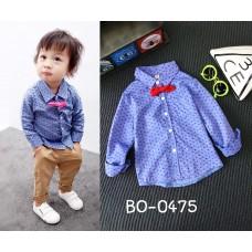 BO0475 เสื้อเชิ๊ตเด็กผู้ชายออกงาน คอปกแขนยาวสีน้ำเงิน พร้อมหูกระต่ายสีแดง (2 ชิ้น)