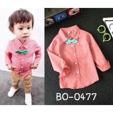 BO0477 เสื้อเชิ๊ตเด็กผู้ชายออกงาน คอปกแขนยาวสีแดง พร้อมหูกระต่ายสีเขียว (2 ชิ้น)