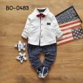 BO0483 ชุดเด็กผู้ชายออกงาน เสื้อเชิ๊ตแขนยาวสีขาว หูกระต่ายแดง กางเกงขายาวสีเทา (3ชิ้น)