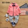 BO0484 ชุดเด็กผู้ชายออกงาน เสื้อเชิ๊ตแขนยาวสีชมพู หูกระต่ายกรมท่า กางเกงขายาวสีเทา (3ชิ้น)