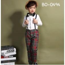 BO0494B ชุดเด็กผู้ชายออกงาน เสื้อคอปกแขนยาวสีขาว และกางเกงขายาวลายสก๊อต (2ชิ้น)