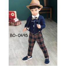 BO0495 ชุดเด็กผู้ชายออกงาน เสื้อคอปกแขนยาวสีกรมท่า หูกระต่ายลายดอก สายเอี๊ยม และกางเกงขายาวลายสก๊อต (4ชิ้น)